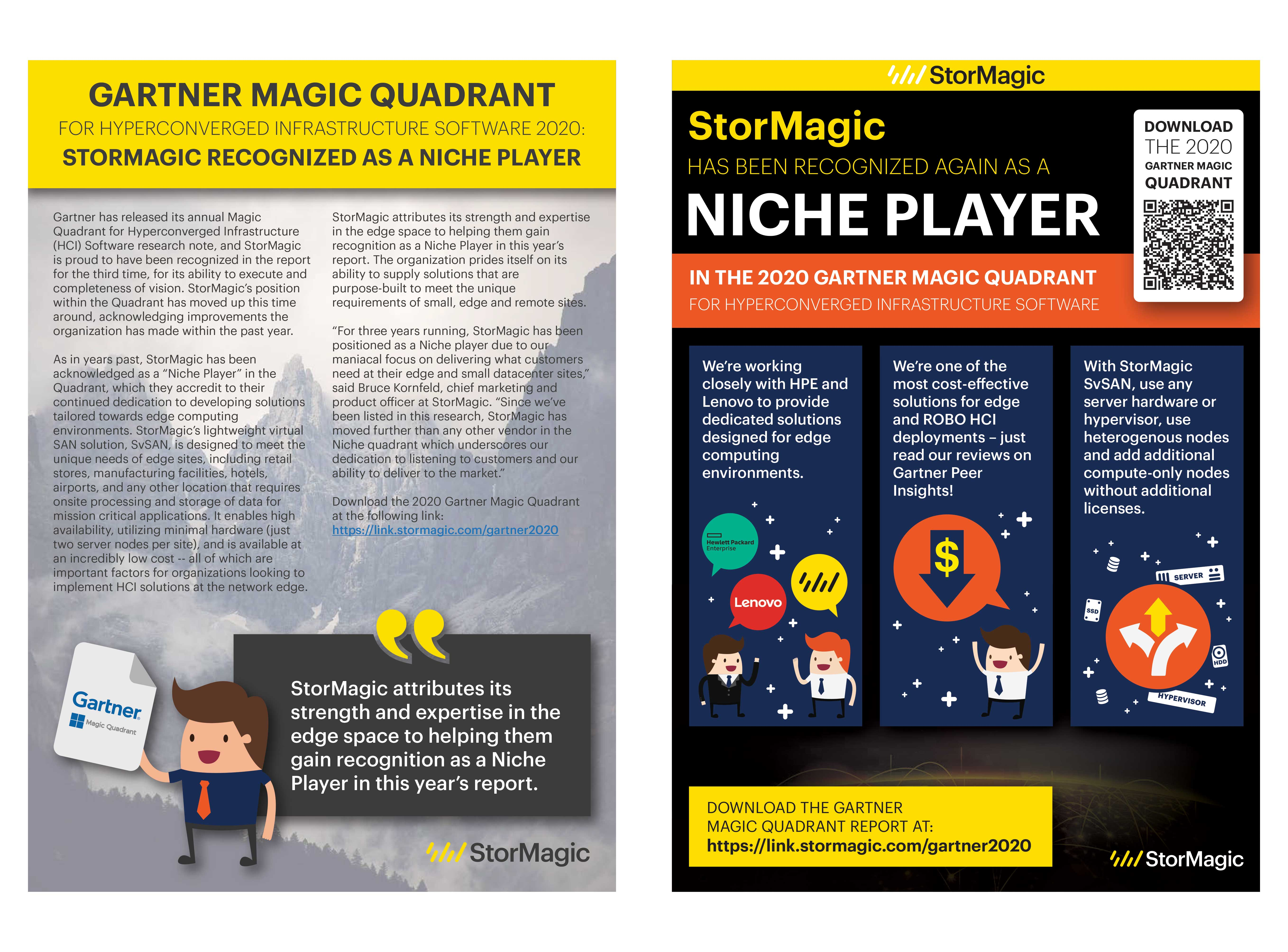 GARTNER MAGIC QUADRANT FOR HYPERCONVERGED INFRASTRUCTURE SOFTWARE 2020: STORMAGIC RECOGNIZED AS A NICHE PLAYER
