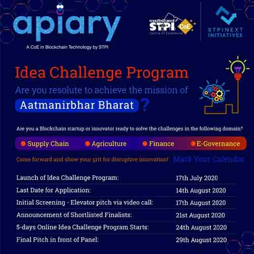STPI soft launched Apiary - a Centre of Excellence in Blockchain Technology, brings Idea Challenge Program