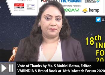 Vote of Thanks by Ms. S Mohini Ratna, Editor, VARINDIA & Brand Book at 18th Infotech Forum 2020